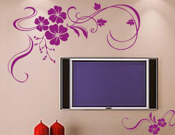 Fashion flower vines wall sticker diy 3d house decoration for 3d dining room wall art