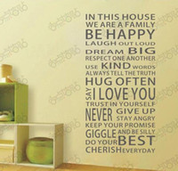 Wholesale i love you Be Happy Removable Vinyl PVC Wall Art Words Stickers Decals Quote House Rules School