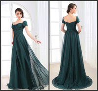 Wholesale Custom Made Dark Green Short Sleeve Ruched Chiffon Formal Evening Dress Party Gown