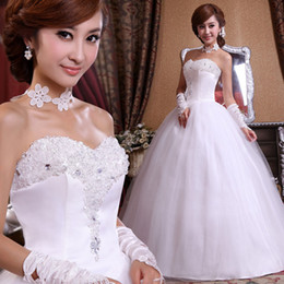 Wholesale Wedding dress rhinestone flower bridal dress High quality lace Sexy princess dress