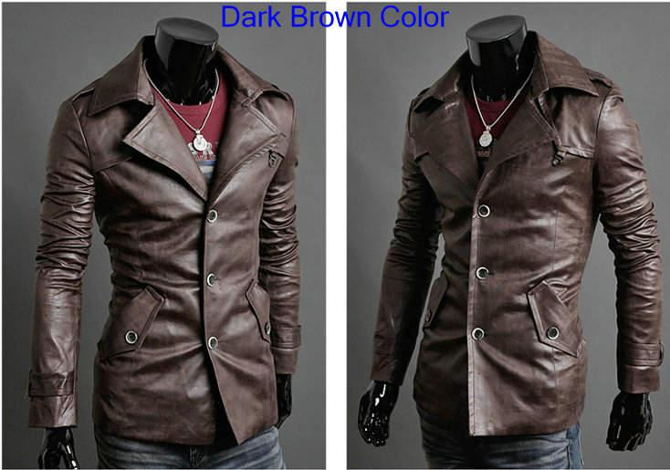 new fashion chic pu leather lepel mens silm long jackets. Black Bedroom Furniture Sets. Home Design Ideas