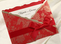 Invitations & Invitation Buckles Folded Red RED bow Golden flower Invitation card Wedding Invitations come envelopes sealed card 50pcs lot