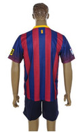 Wholesale Top Quality Barcelona Home Red Blue Soccer Uniform Jerseys and Shorts Football Jerseys
