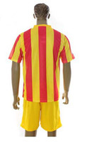 Wholesale Top Quality Barcelona Away Orange Yellow Soccer Uniform Jerseys and Shorts Football Jerseys