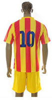 Wholesale Top Quality Barcelona Away Orange Yellow Soccer Uniform Jerseys and Shorts