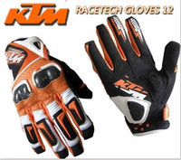 Leather waterproof gloves - KTM Racetech leather gloves orange motorcycle motorbike motorcross ATV OFFROAD top sale hight quality