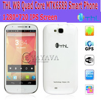 Wholesale THL W8 Inch Android MTK6589 Quad Core Smart Cell Phone WCDMA G GSM GB MP Dual Sim GPS