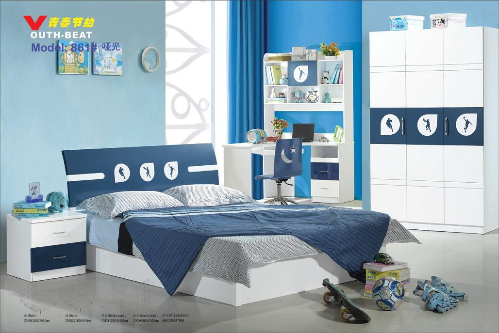 Mdf teenage kids bedroom furniture set children furniture for Youth bedroom furniture sets