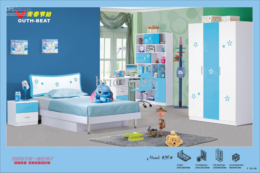 Mdf youth kids bedroom furniture set online with for Cheap places to get furniture