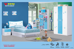 Wholesale It is a link for client to pay additional delivery cost Lovely kids Youth Kids Bed Wardrobe Blue MDF Bedroom Furniture Set per set