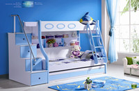 Wholesale 3pcs MDF Panels Children kids Bunk Bed with Stairs and Drawer Colour Blue