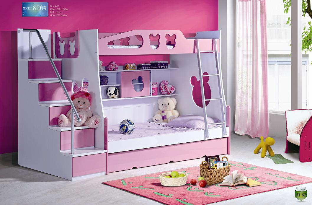 Set Cute MDF Panels Children Kids Youth Teenage Bunk Bed with