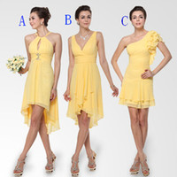 Model Pictures Chiffon Ruffle 2013 Cheap Mix Order New Sexy V Neck Ruched Yellow Chiffon Short Prom Dresses Bridesmaid Dress
