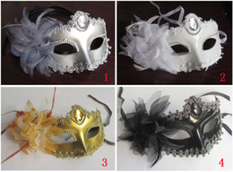 4 Color Half Faces Eye Masks With Lily on Side Masquerade Mardi Gras Venetian Halloween Costume Mask