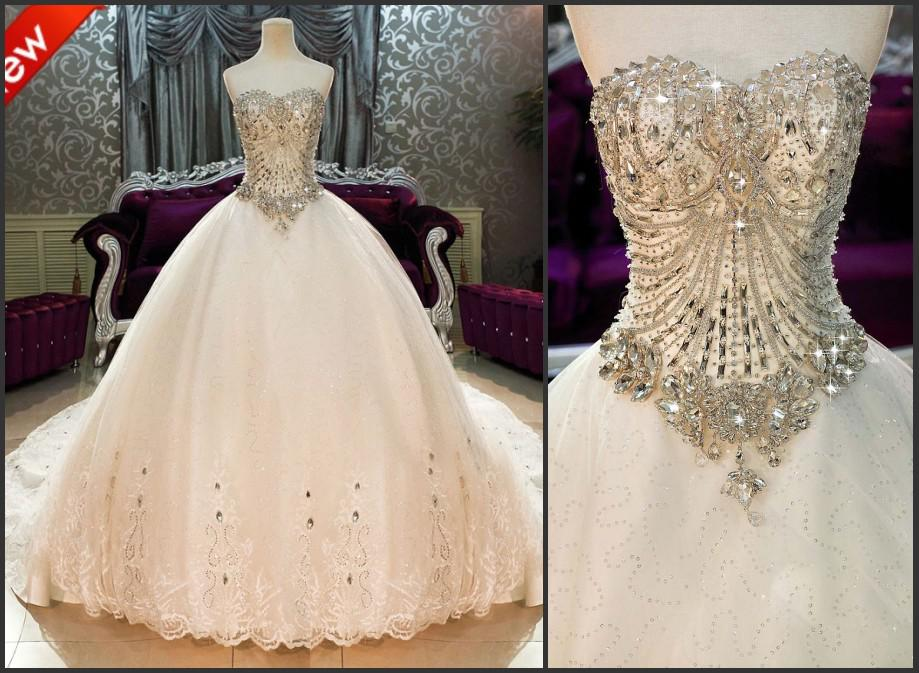 Ball Gown Wedding Dresses With Bling And Sweetheart Neckline Images ...