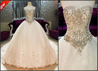 Wholesale Bling Bling Crystals luxury Sweetheart Lace Applique cathedral train Ball Gown Wedding Dresses