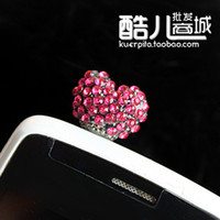 Cheap Love Crystal Rhinestone dust plug of cell-phone Mixed Order !!! Free shipping!