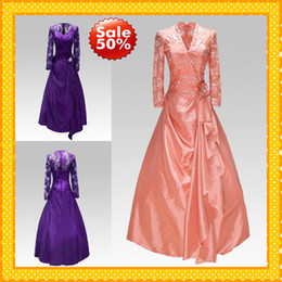 Wholesale Sexy Purple V neck Lace Long Sleeves Ruffles Taffeta Mother of the bride Dresses Bolero Formal Dress