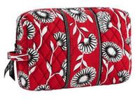 Wholesale H1059 LARGE SIZE Deco Daisy Floral COTTON Red Zipper Cosmetic Bag drop shipp