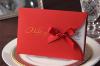 Invitation Cards Folded Red CW2027 red bow style Invitation card Wedding Invitations come envelopes sealed card 50pcs lot