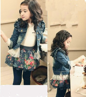 Jackets Girl Spring / Autumn Children's denim Jacket 2014 Net yarn girl cowboy coat girl's blouse cardigan Children's cardigan coats