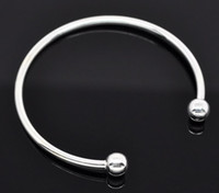 Wholesale 15pc Silver Vogue SP Smooth Bangle Bracelet Fit European Charm Beads cm Jewelry DIY