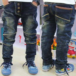 Wholesale Children jeans boy stripes pocket design blue jeans boy pants