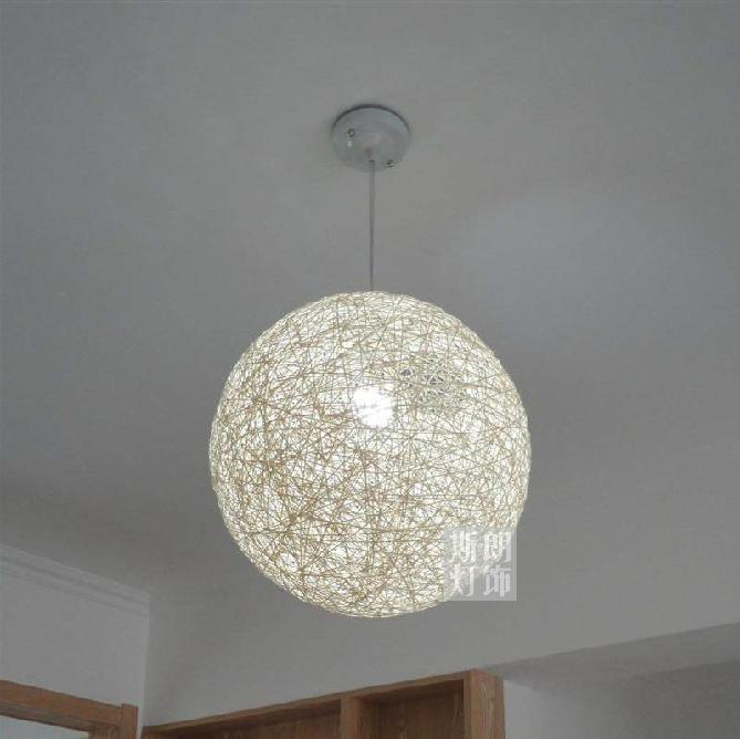 lampadari a palla : 2013 new Modern minimalist ramie hemp ball lamp chandelier rattan ...