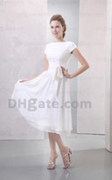 Wholesale White Bridesmaid Dresses Bateau Chiffon Short Steeve Tea Length Button Party Dresses Prom Dresses