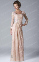 Square chiffon jacket - 2013 Champagne Long Sleeve Lace Chiffon Evening Dress Mother of the Bride Gown By Bolero Jacket W034