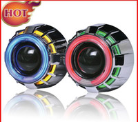 Wholesale 10pairs AES HID Bi xenon projector lens type H1 double angel eyes with bulb harness MGX051