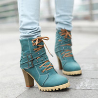 Wholesale Thick heel rivet martin boots vintage female platform boots high heeled boots spring and autumn