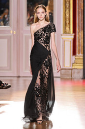 Wholesale DHgate New Black Lace Mermaid Evening Dresses Zuhair Murad one shoulder Crystals Prom Dresses