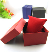 paper watch box - 100PCS black red blue watches box paper Watch Box with Pillow Paper Gift Boxes Case For Jewelry Box