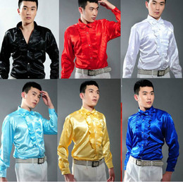 Wholesale Men s Wedding Prom Groom Shirts White Black Blue Bridegroom Casual Long sleeved Performance