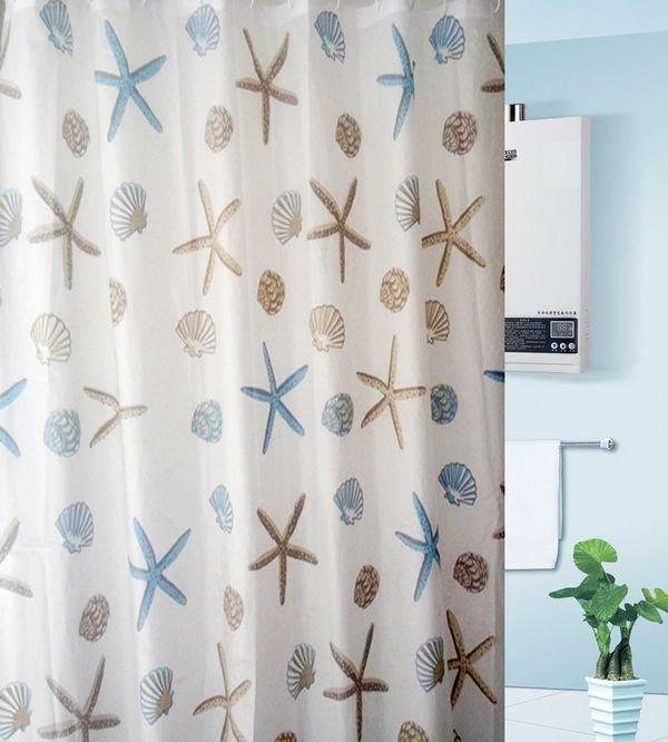 Waterproof Peva Starfish Shower Curtain Bathroom Curtian Rings Included Supplier Starfish Shower Curtain