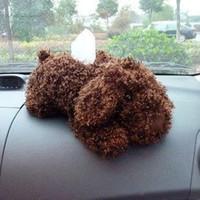 Wholesale Auto supplies teddy dog tissue box plush tissue pumping cartoon tissue box supplies