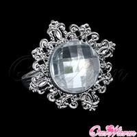 aluminum banquet tables - 100 White Diamond Napkin Ring Serviette Holder Wedding Party Banquet Table Dinner Decor