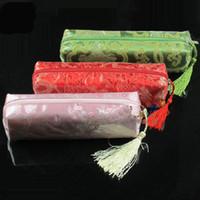 Wholesale Waterproof Women Travel Zipper Pencil Case Cosmetic Bag Silk Brocade Tassel Makeup Packaging Bags Storage Pouch