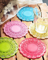 Wholesale Beautiful Flower design Round Silicon Cup Mat Mug Mat