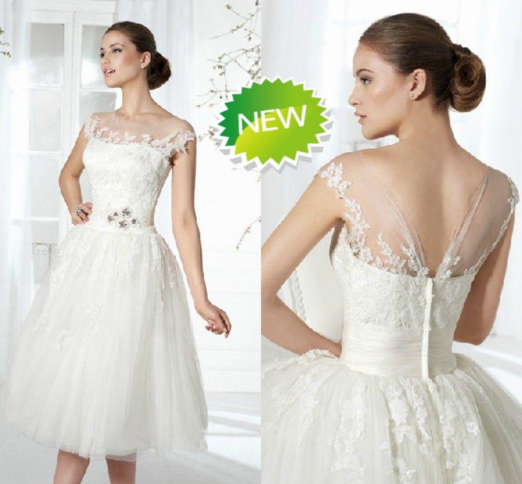 2016 short ball gown beach wedding dresses tea length for Informal wedding dresses cheap
