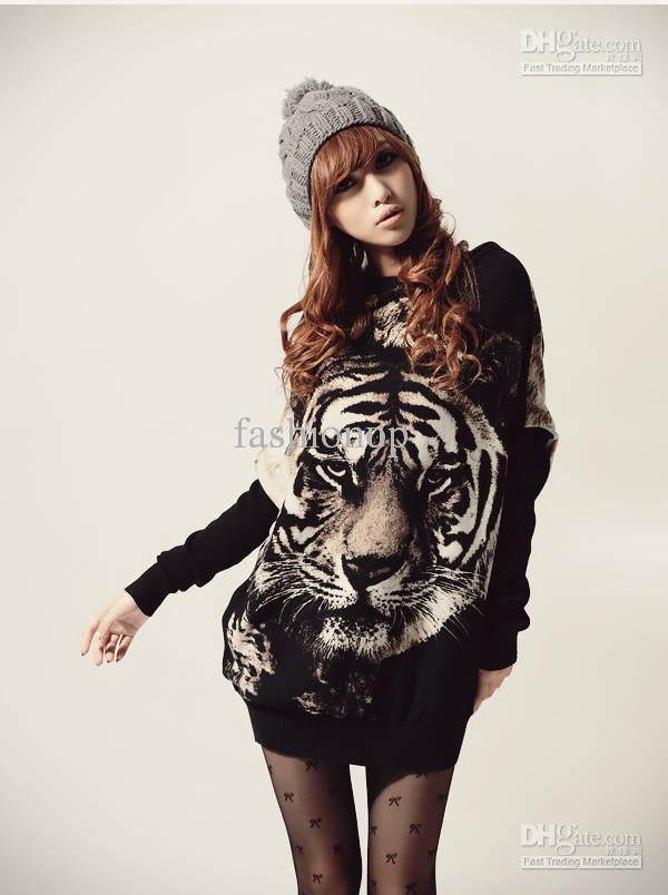 Hottest Womens Sweaters Japan Fashion Tiger Pattern Printing Ladies Sweaters AMY,27