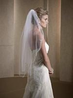Wholesale 2016 White Ivory One Layer Fingertip Bridal Wedding Veils Cheap Beads Hem Bridal Veils