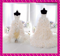 Wholesale Delicate High Low A Line Sweetheart Tulle Bow Feather Corset Wedding Prom Dresses Sexy Lace up
