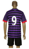 Wholesale Top Quality Arsenal Away Purple Black Soccer Uniform Jerseys and Shorts Football Jerseys