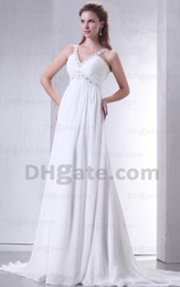 Wholesale 2013 V Neck Sheath Wedding Dresses Bridal Gown Chiffon Crystal Beaded Party Dresses Prom Dresses