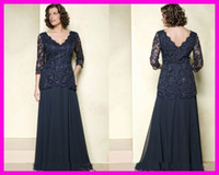Wholesale Navy Plus Size Long Sleeves Chiffon Lace Mother of the Bride Dresses Floor Length M1415