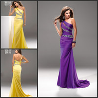 Reference Images One-Shoulder Chiffon Wow Factor Free Shipping Purple One Shoudler Crystal Beading Ruch Sheath Evening Dress Prom Dresses