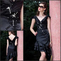 Wholesale Fashion Applique Beaded Off shoulder Black cocktail dresses party gown prom dress
