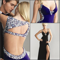 Reference Images V-Neck Chiffon Free Shipping Wow Factory Deep V-neck With Side Split Rhinestions Chiffon Sexy Prom Dress party Gown